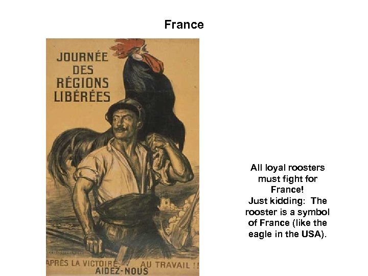 France All loyal roosters must fight for France! Just kidding: The rooster is a