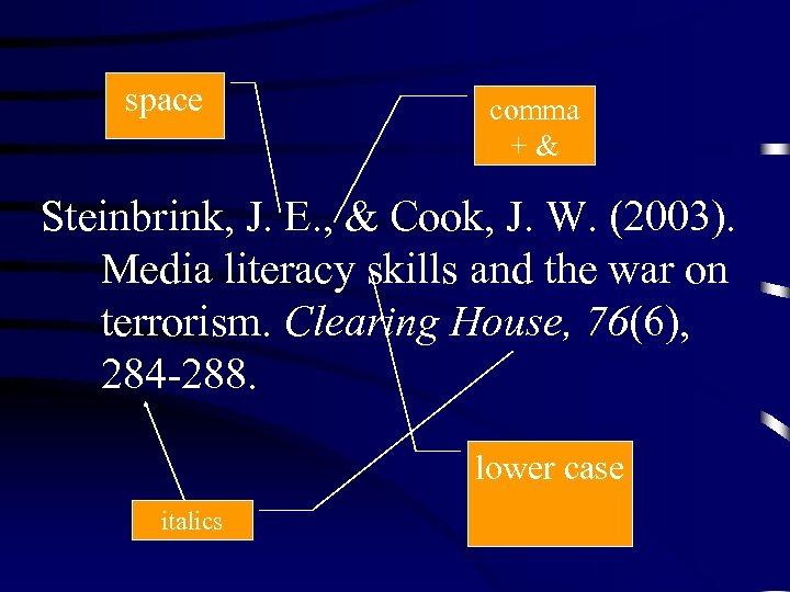 space comma +& Steinbrink, J. E. , & Cook, J. W. (2003). Media literacy