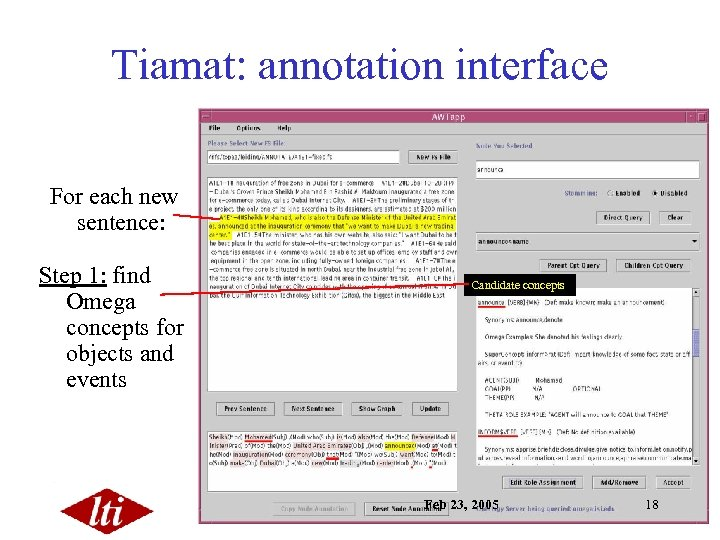 Tiamat: annotation interface For each new sentence: Step 1: find Omega concepts for objects