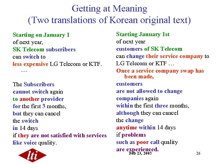 Getting at Meaning (Two translations of Korean original text) Starting on January 1 of