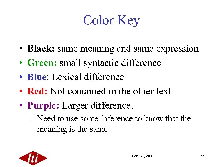 Color Key • • • Black: same meaning and same expression Green: small syntactic
