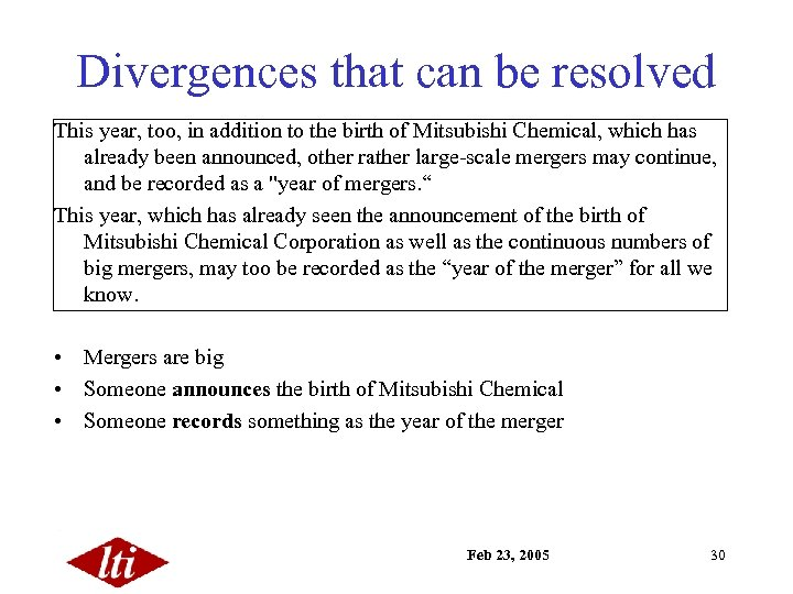 Divergences that can be resolved This year, too, in addition to the birth of