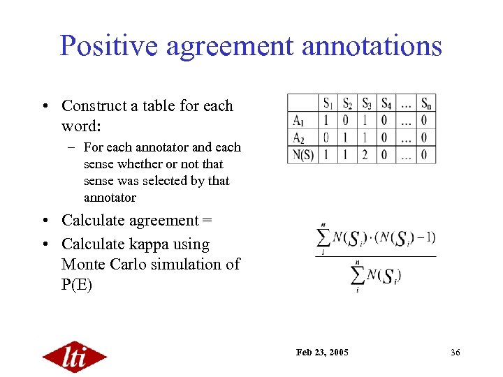 Positive agreement annotations • Construct a table for each word: – For each annotator