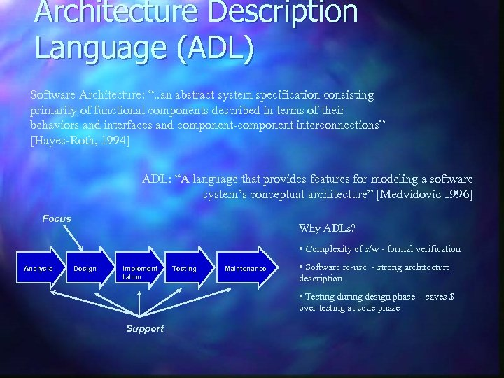 """Architecture Description Language (ADL) Software Architecture: """". . an abstract system specification consisting primarily"""