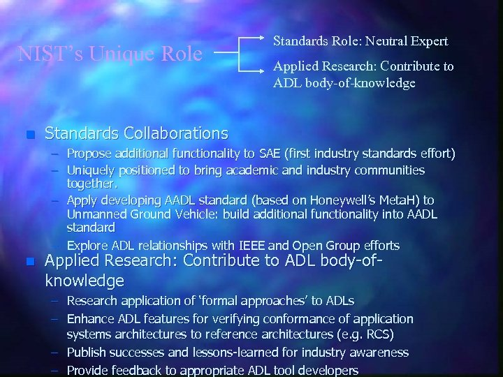 NIST's Unique Role n Standards Role: Neutral Expert Applied Research: Contribute to ADL body-of-knowledge