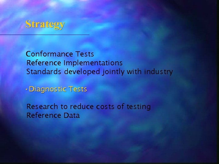 Strategy Conformance Tests Reference Implementations Standards developed jointly with industry • Diagnostic Tests Research
