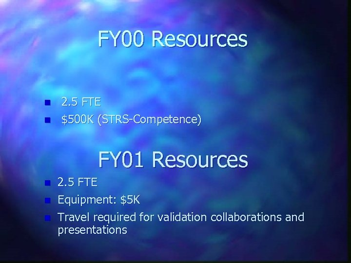 FY 00 Resources n n 2. 5 FTE $500 K (STRS-Competence) FY 01 Resources