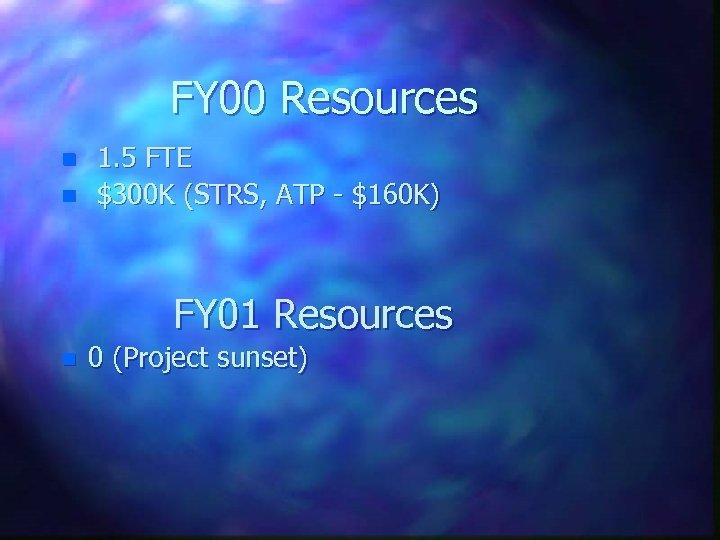 FY 00 Resources n n 1. 5 FTE $300 K (STRS, ATP - $160