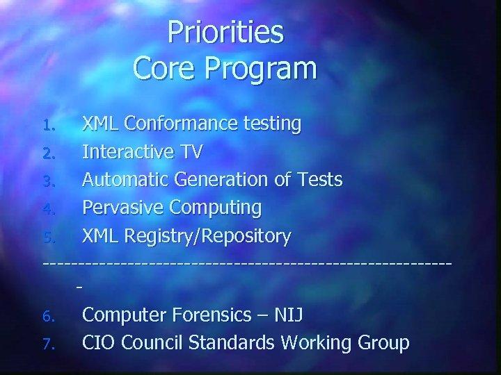 Priorities Core Program XML Conformance testing 2. Interactive TV 3. Automatic Generation of Tests