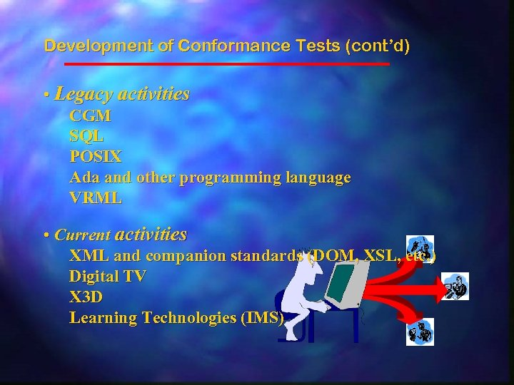 Development of Conformance Tests (cont'd) • Legacy activities CGM SQL POSIX Ada and other