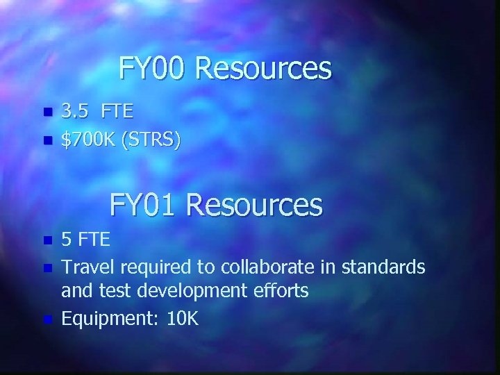 FY 00 Resources n n 3. 5 FTE $700 K (STRS) FY 01 Resources