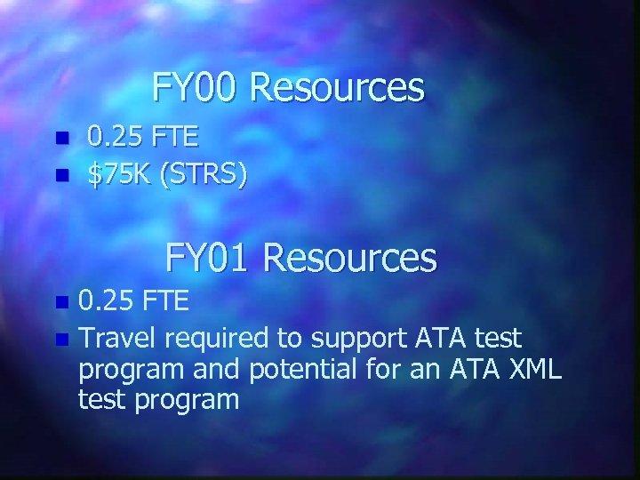 FY 00 Resources n n 0. 25 FTE $75 K (STRS) FY 01 Resources