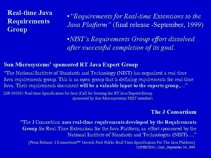 """Real-time Java Requirements Group • """"Requirements for Real-time Extensions to the Java Platform"""" (final"""