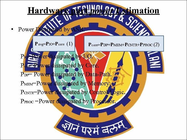 Hardware part power Estimation • Power Dissipated by ASIC Pavg=PIO+Pcore (1) Pcore=PDP+PMEM+PCNTR+PPROC (2) PIO=Power