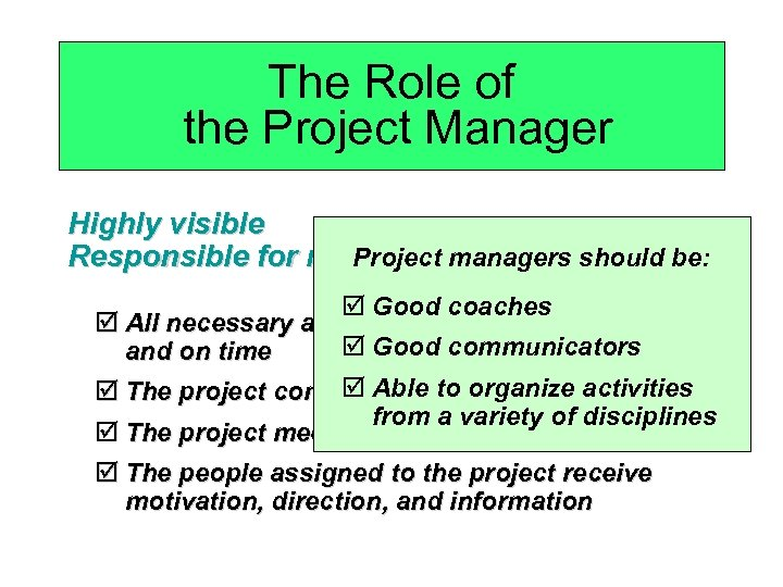 The Role of the Project Manager Highly visible Project managers Responsible for making sure