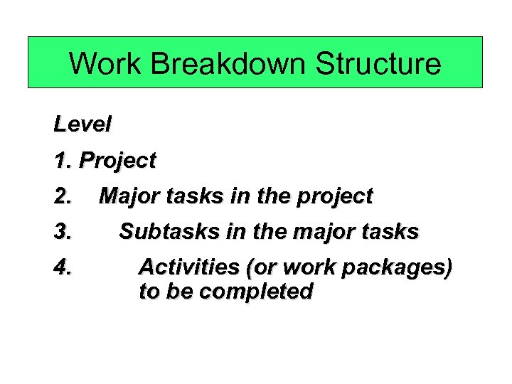 Work Breakdown Structure Level 1. Project 2. Major tasks in the project 3. 4.