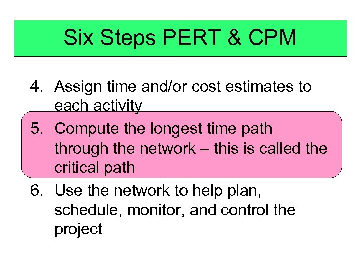 Six Steps PERT & CPM 4. Assign time and/or cost estimates to each activity