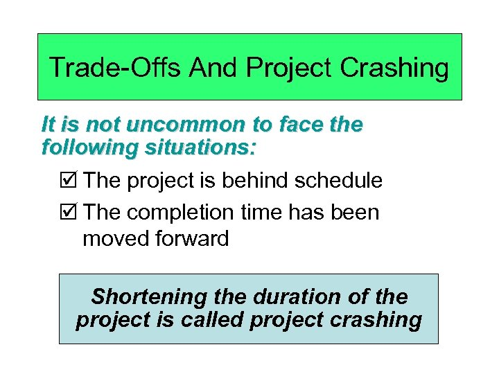 Trade-Offs And Project Crashing It is not uncommon to face the following situations: þ