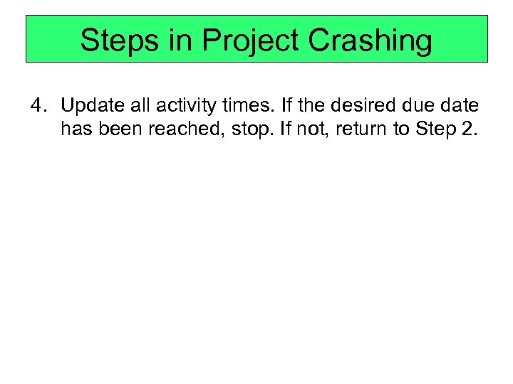 Steps in Project Crashing 4. Update all activity times. If the desired due date
