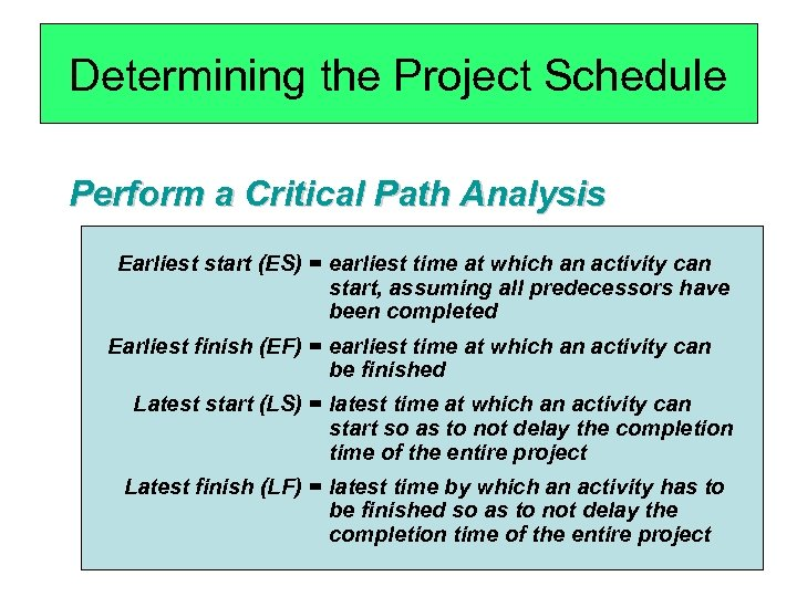 Determining the Project Schedule Perform a Critical Path Analysis Earliest start (ES) = earliest