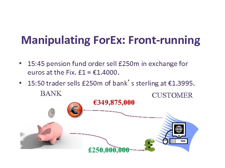 Manipulating For. Ex: Front-running • 15: 45 pension fund order sell £ 250 m