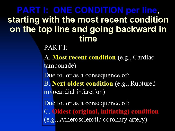 PART I: ONE CONDITION per line, starting with the most recent condition on the