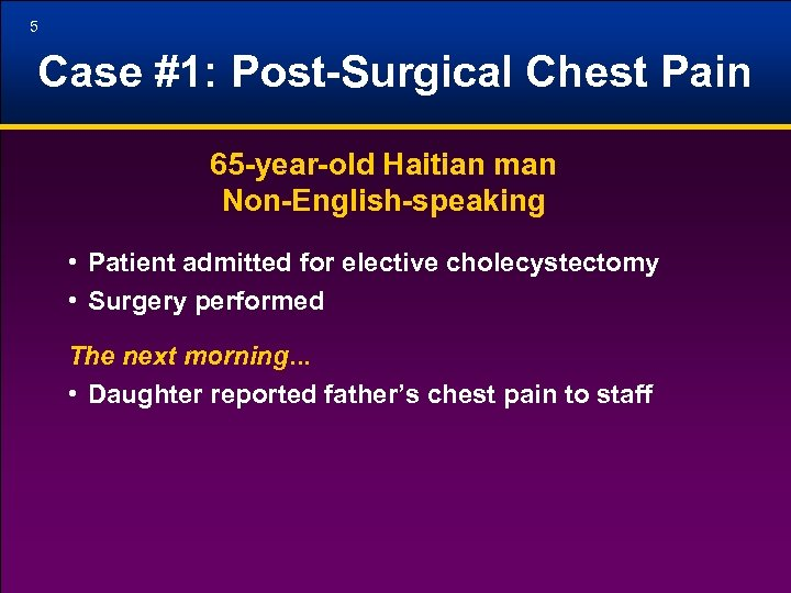 5 Case #1: Post-Surgical Chest Pain 65 -year-old Haitian man Non-English-speaking • Patient admitted