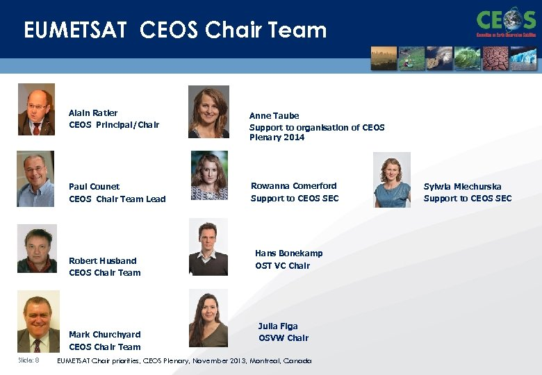 EUMETSAT CEOS Chair Team Alain Ratier CEOS Principal/Chair Anne Taube Support to organisation of