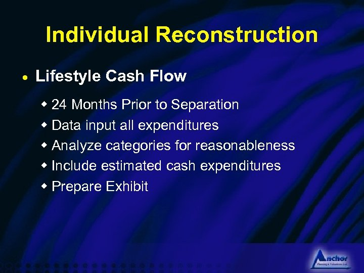 Individual Reconstruction · Lifestyle Cash Flow w 24 Months Prior to Separation w Data