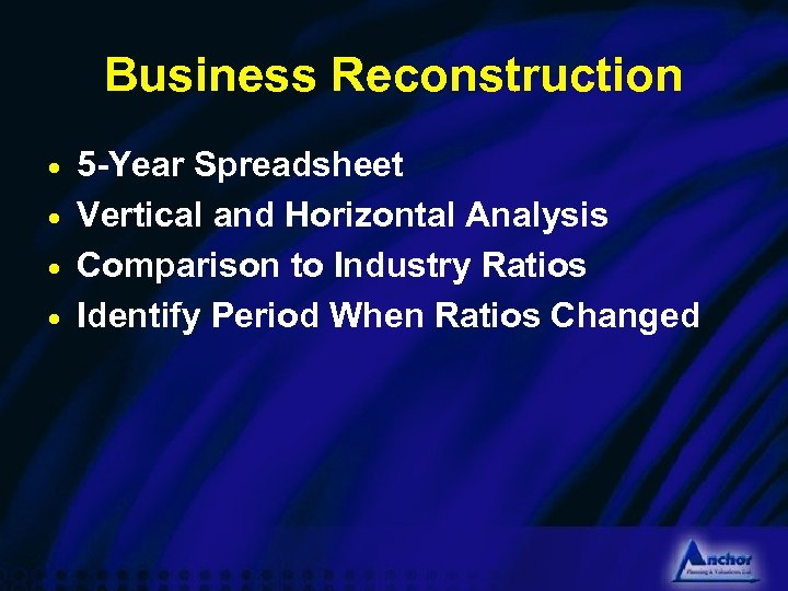 Business Reconstruction 5 -Year Spreadsheet · Vertical and Horizontal Analysis · Comparison to Industry