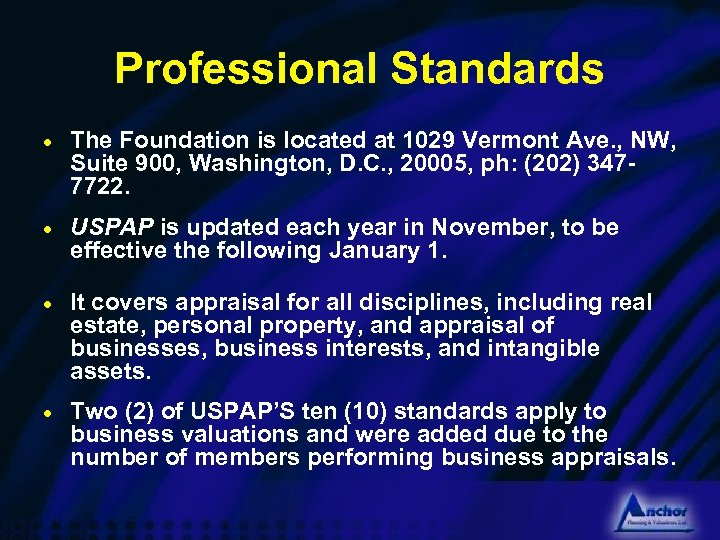 Professional Standards · The Foundation is located at 1029 Vermont Ave. , NW, Suite