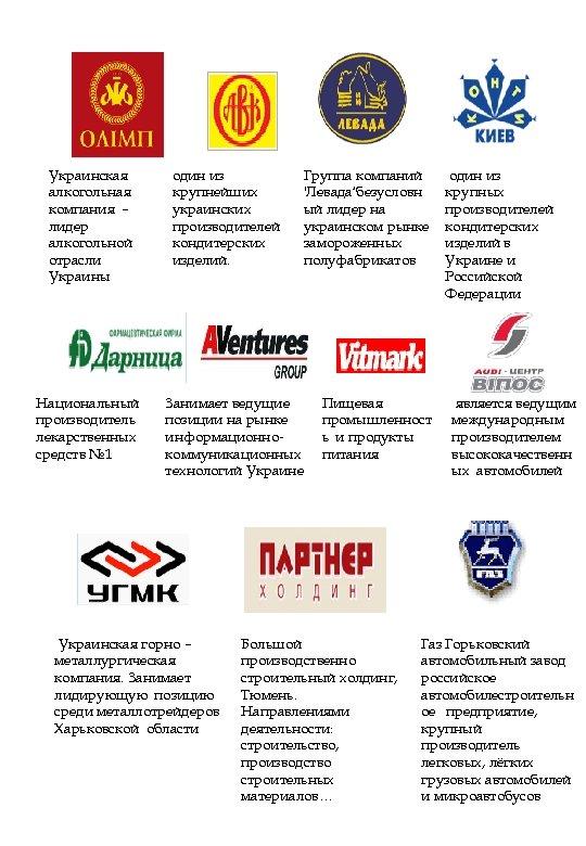 Украинская алкогольная компания – лидер алкогольной отрасли Украины Национальный производитель лекарственных средств № 1
