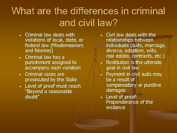 What are the differences in criminal and civil law? • • Criminal law deals