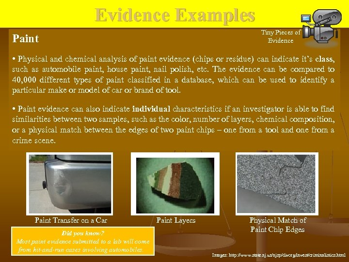 Evidence Examples Tiny Pieces of Evidence Paint • Physical and chemical analysis of paint
