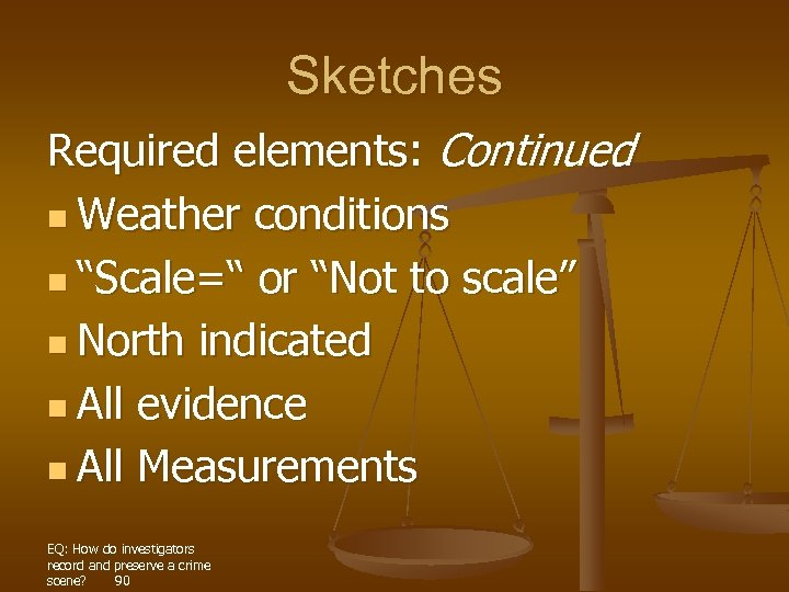 "Sketches Required elements: Continued n Weather conditions n ""Scale="" or ""Not to scale"" n"