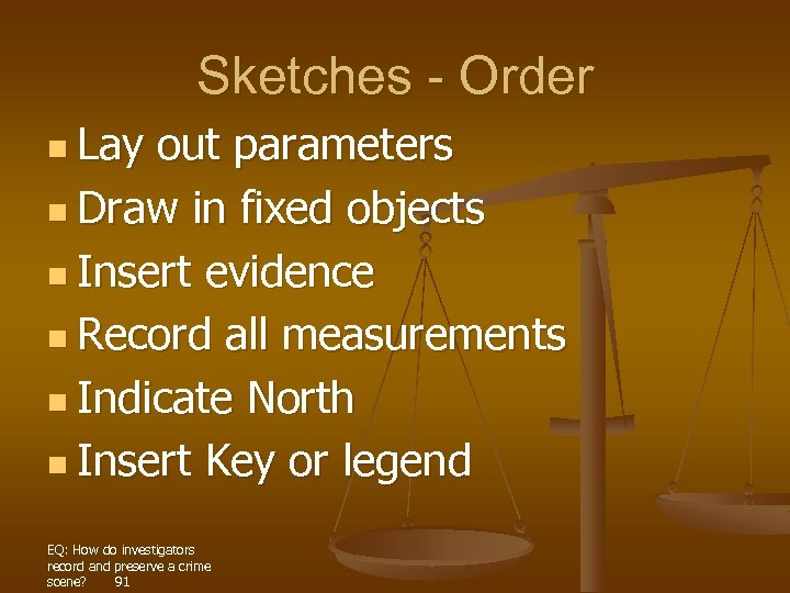 Sketches - Order n Lay out parameters n Draw in fixed objects n Insert