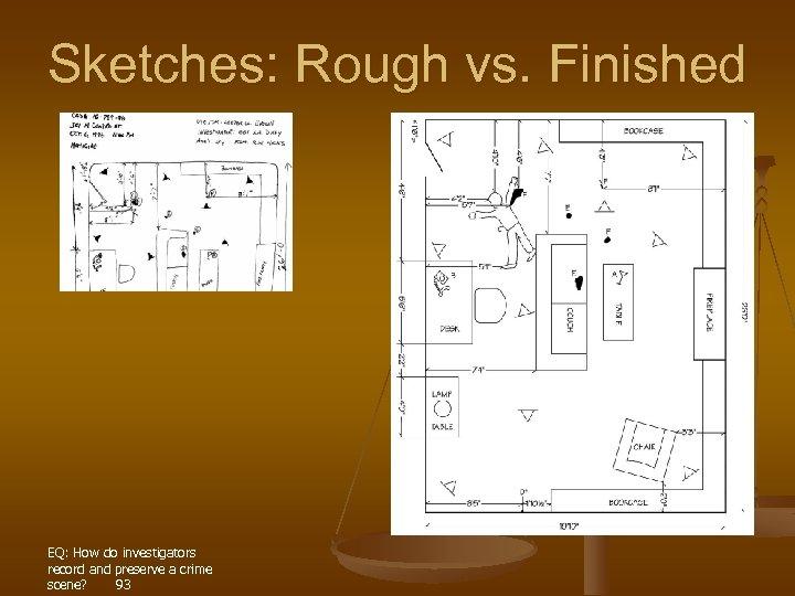 Sketches: Rough vs. Finished EQ: How do investigators record and preserve a crime scene?