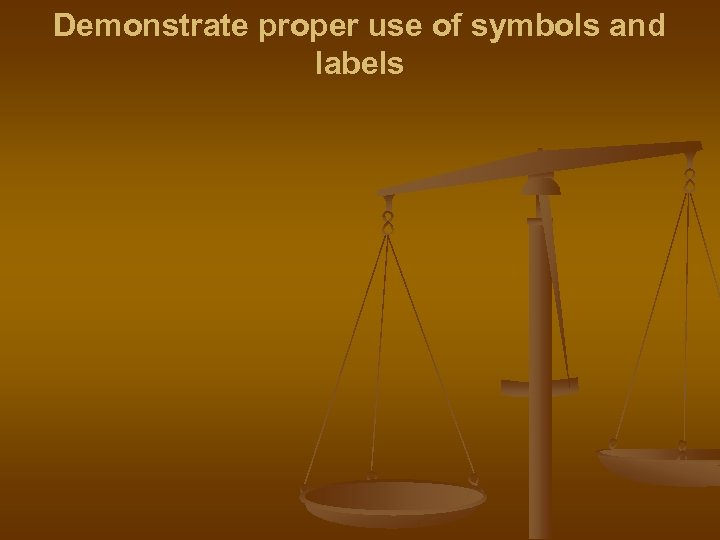 Demonstrate proper use of symbols and labels