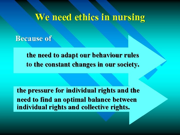 We need ethics in nursing Because of the need to adapt our behaviour rules