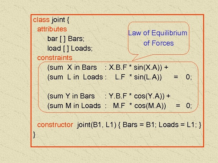 class joint { attributes Law of Equilibrium bar [ ] Bars; of Forces load