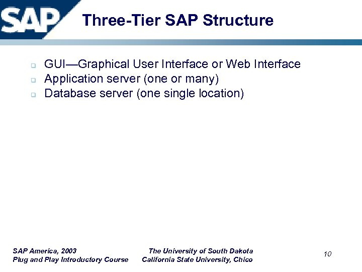 Three-Tier SAP Structure q q q GUI—Graphical User Interface or Web Interface Application server