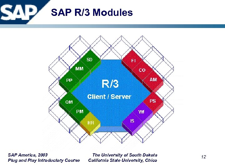 SAP R/3 Modules SAP America, 2003 Plug and Play Introductory Course The University of