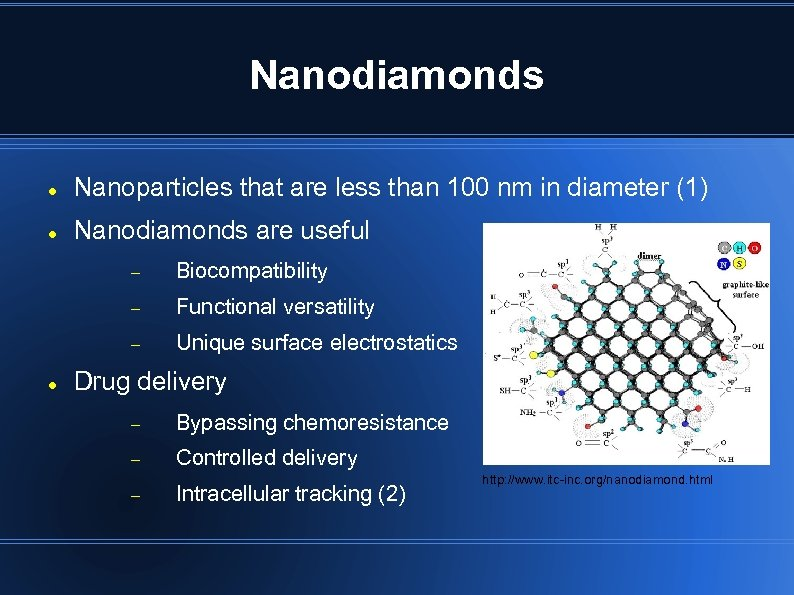 Nanodiamonds Nanoparticles that are less than 100 nm in diameter (1) Nanodiamonds are useful