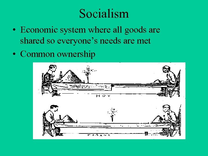 Socialism • Economic system where all goods are shared so everyone's needs are met