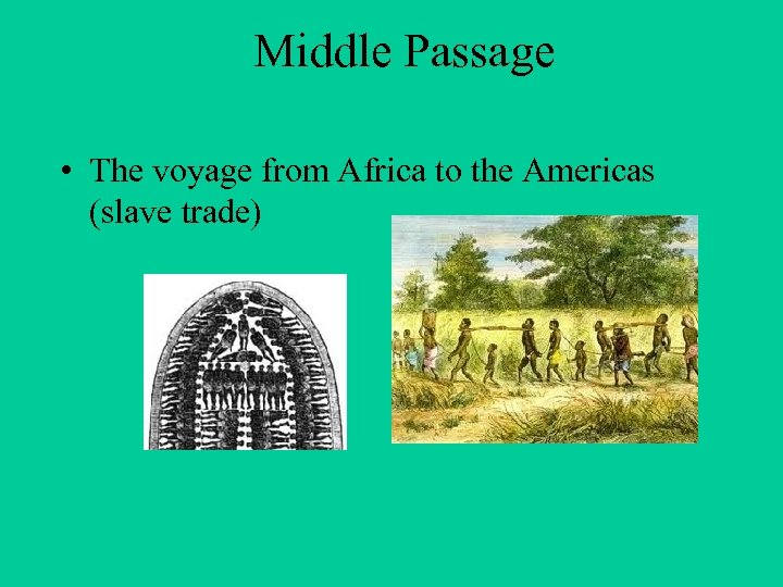 Middle Passage • The voyage from Africa to the Americas (slave trade)