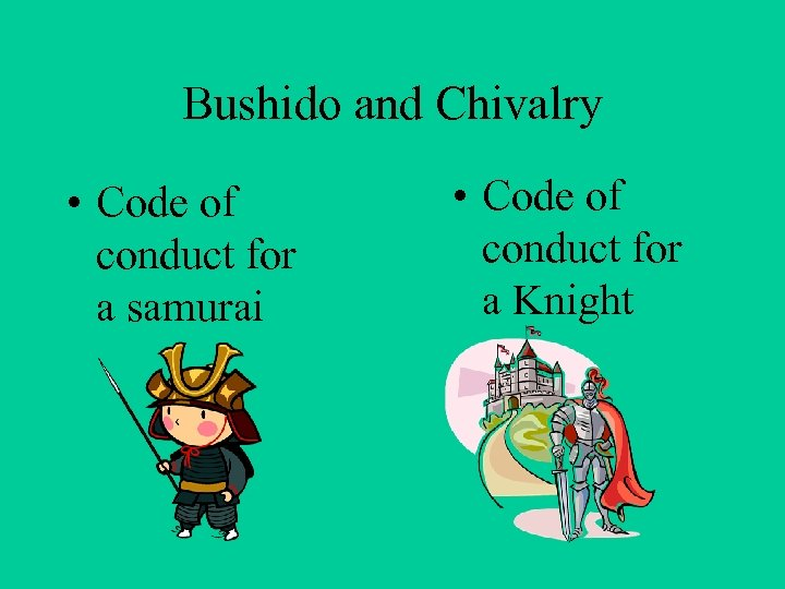Bushido and Chivalry • Code of conduct for a samurai • Code of conduct