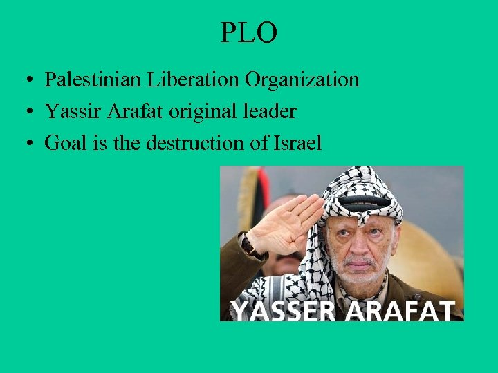 PLO • Palestinian Liberation Organization • Yassir Arafat original leader • Goal is the