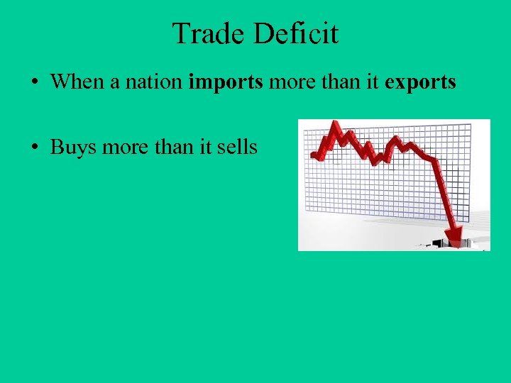 Trade Deficit • When a nation imports more than it exports • Buys more