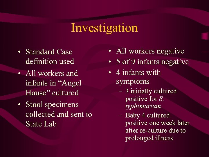 """Investigation • Standard Case definition used • All workers and infants in """"Angel House"""""""