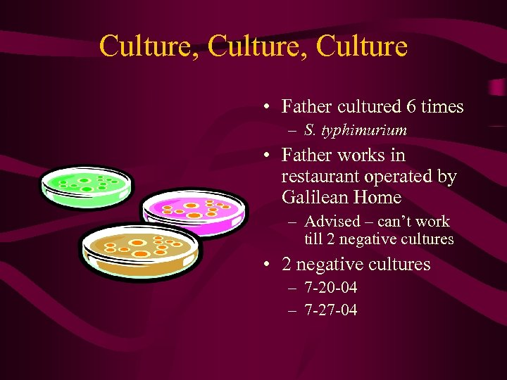 Culture, Culture • Father cultured 6 times – S. typhimurium • Father works in